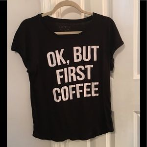 Ok But First Coffee graphic tee M black